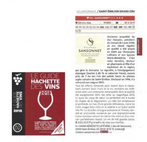 Commentaire Château SANSONNET 2014 - Guide Hachette des Vins 2018
