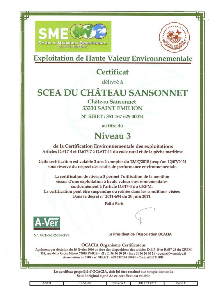 certification HVE Château SANSONNET 2018-2021